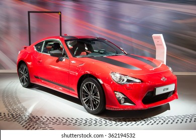 BRUSSELS - JAN 12, 2016: Toyota GT 86 on display at the Brussels Motor Show.