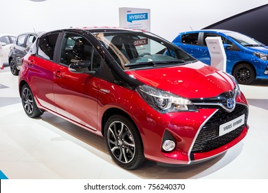 BRUSSELS - JAN 12, 2016: Toyota Yaris Hybrid car showcased at the Brussels Motor Show.