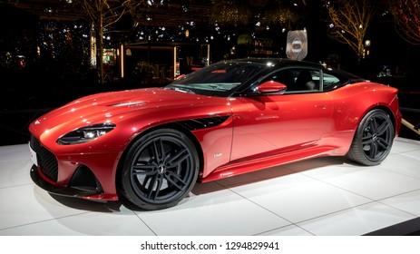 BRUSSELS - JAN 18, 2019: Aston Martin DBS Superleggera sports car showcased at the 97th Brussels Motor Show 2019 Autosalon.