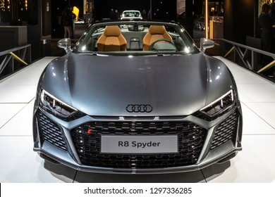 BRUSSELS - JAN 18, 2019: Audi R8 Spyder sports car showcased at the 97th Brussels Motor Show 2019 Autosalon.