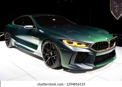 BRUSSELS - JAN 18, 2019: BMW M8 Gran Coupe sports car showcased at the 97th Brussels Motor Show 2019 Autosalon.