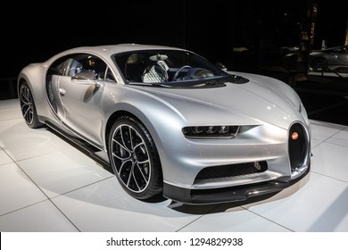 BRUSSELS - JAN 18, 2019: Bugatti Chiron sports car showcased at the 97th Brussels Motor Show 2019 Autosalon.