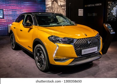 BRUSSELS - JAN 18, 2019: Citroen DS 3 Crossback E-Tense car showcased at the 97th Brussels Motor Show 2019 Autosalon.