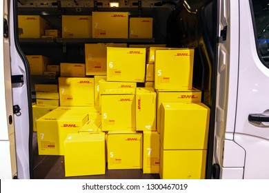 BRUSSELS - JAN 18, 2019: DHL delivery van showcased at the 97th Brussels Motor Show 2019 Autosalon.