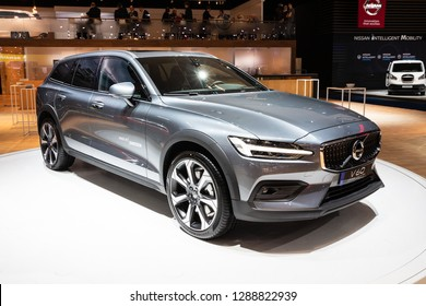 BRUSSELS - JAN 18, 2019: European debut of the new Volvo V60 Cross Country car showcased at the Brussels Motor Show 2019 Autosalon.