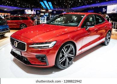 BRUSSELS - JAN 18, 2019: European debut of the new Volvo S60 car showcased at the Brussels Motor Show 2019 Autosalon.