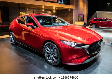 BRUSSELS - JAN 18, 2019: European premiere of the new 2019 Mazda 3 Hatchback car at the 97th Brussels Motor Show 2019 Autosalon.