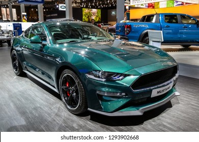BRUSSELS - JAN 18, 2019: Ford Mustang sports car showcased at the 97th Brussels Motor Show 2019 Autosalon.