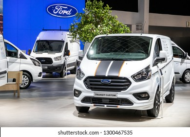 BRUSSELS - JAN 18, 2019: Ford Transit Custom van showcased at the 97th Brussels Motor Show 2019 Autosalon.