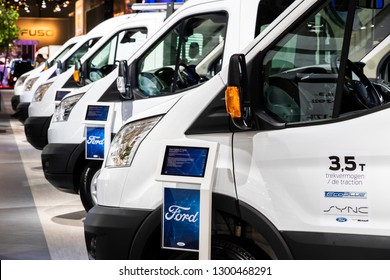 BRUSSELS - JAN 18, 2019: Ford Transit vans showcased at the 97th Brussels Motor Show 2019 Autosalon.