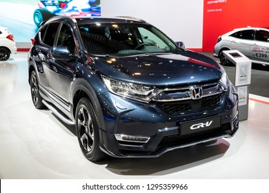 BRUSSELS - JAN 18, 2019: Honda CR-V car showcased at the 97th Brussels Motor Show 2019 Autosalon.