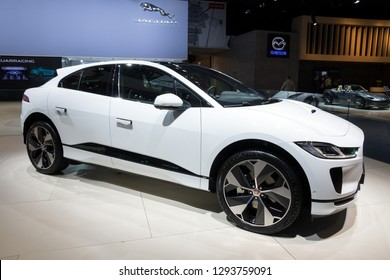 BRUSSELS - JAN 18, 2019: Jaguar i-Pace EV400 Electric SUV car showcased at the Brussels Motor Show 2019 Autosalon.