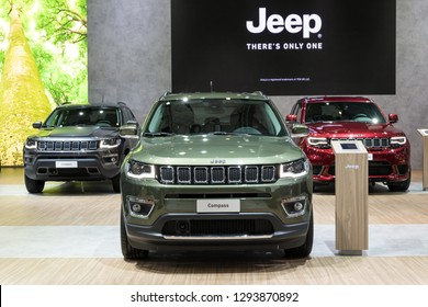 BRUSSELS - JAN 18, 2019: Jeep Compass car showcased at the 97th Brussels Motor Show 2019 Autosalon.
