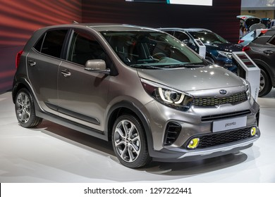 BRUSSELS - JAN 18, 2019: Kia Picanto car showcased at the 97th Brussels Motor Show 2019 Autosalon.