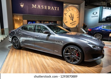 BRUSSELS - JAN 18, 2019: Maserati Quattroporte GranSport sports car showcased at the 97th Brussels Motor Show 2019 Autosalon.