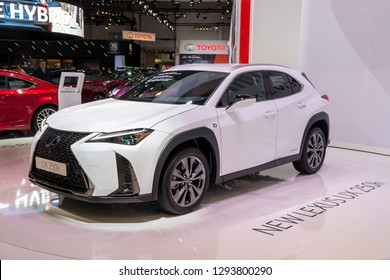 BRUSSELS - JAN 18, 2019: New Lexus UX 250h car showcased at the 97th Brussels Motor Show 2019 Autosalon.