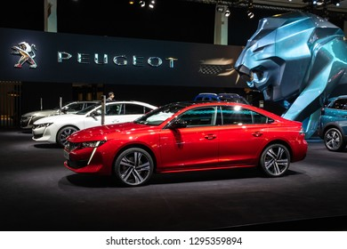 BRUSSELS - JAN 18, 2019: Peugeot 508 car showcased at the 97th Brussels Motor Show 2019 Autosalon.