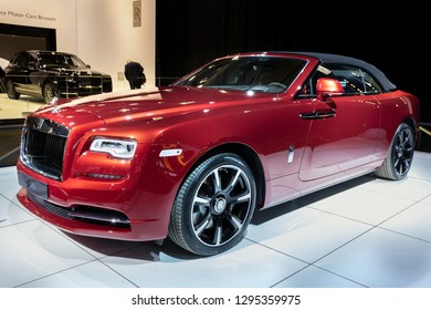 BRUSSELS - JAN 18, 2019: Rolls Royce Dawn luxury car showcased at the 97th Brussels Motor Show 2019 Autosalon.