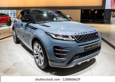 BRUSSELS - JAN 18, 2019: World premiere of the new Land Rover Range Rover Evoque car at the 97th Brussels Motor Show 2019 Autosalon.