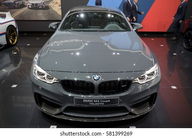 BRUSSELS - JAN 19, 2017: BMW M4 Coupe TELESTO car at the Motor Show Brussels.