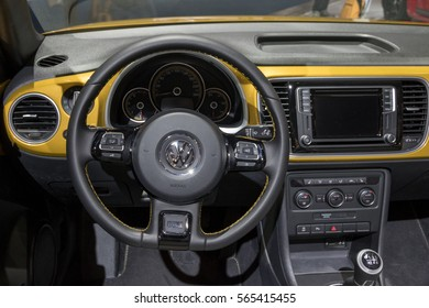 BRUSSELS - JAN 19, 2017: Interior dashboard VW Beetle Cabrio on display at the Motor Show Brussels.