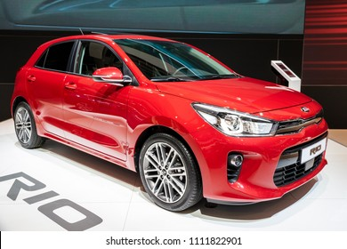 BRUSSELS - JAN 19, 2017: New Kia Rio car on display at the Motor Show Brussels.