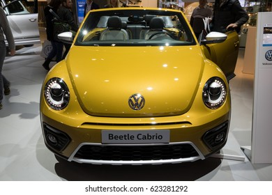BRUSSELS - JAN 19, 2017: Volkswagen Beetle Cabrio car at the Brussels Auto Salon.