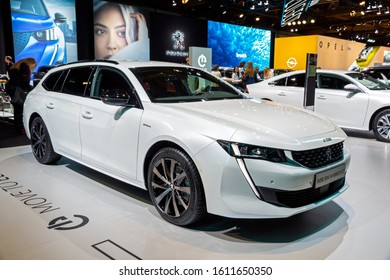 BRUSSELS - JAN 9, 2020: New Peugeot 508 SW Hybrid GT Line car model presented at the Brussels Autosalon 2020 Motor Show.
