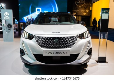 BRUSSELS - JAN 9, 2020: New 2020 Peugeot e-2008 GT electric SUV car model presented at the Brussels Autosalon 2020 Motor Show.