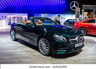 BRUSSELS - JAN 9, 2020: New Mercedes-Benz E-Class Cabriolet car model showcased at the Brussels Autosalon 2020 Motor Show.