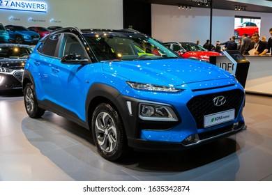 BRUSSELS - JAN 9, 2020: New Hyundai Kona Hybrid car model showcased at the Brussels Autosalon 2020 Motor Show.
