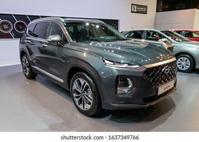 BRUSSELS - JAN 9, 2020: New Hyundai Santa Fe car model showcased at the Brussels Autosalon 2020 Motor Show.