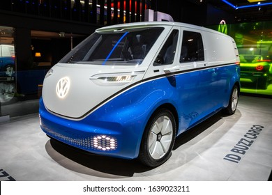 BRUSSELS - JAN 9, 2020: New electric Volkswagen ID Buzz Cargo van model showcased at the Brussels Autosalon 2020 Motor Show.