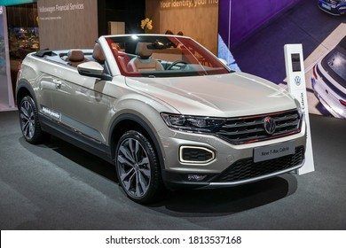 BRUSSELS - JAN 9, 2020: New Volkswagen T-Roc cabriolet car model showcased at the Brussels Autosalon 2020 Motor Show.