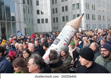 BRUSSELS - JANUARY 11: Silent march in support of free speech and against hate on January 11th, 2015 in Brussels, Belgium. 20000 persons participated.