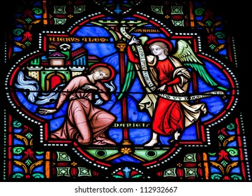 BRUSSELS - JULY 26: Stained glass window depicts the prophet Daniel in the cathedral of Brussels on July, 26, 2012.