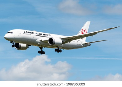 BRUSSELS - JUNE 11: A Boeing 787 Dreamliner of Japan Airlines is ready to land at Brussels Airport in Brussels, BELGIUM on JUNE 11, 2021. Japan Airlines is an international airliner.