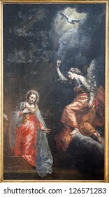 BRUSSELS - JUNE 21: Annunciation by unknown autor from 17. cent. in church of Saint John the Baptist on June 21, 2012 in Brussels.