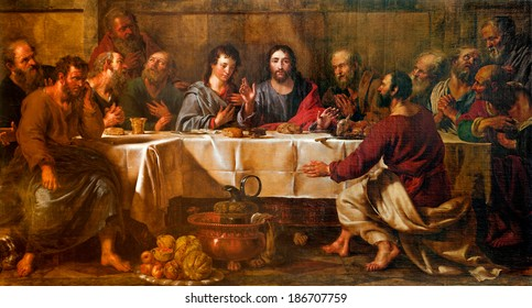 BRUSSELS - JUNE 21:  Paint of Last supper of Christ in st. Nicholas church from 17. cent.