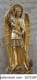 BRUSSELS - JUNE 22: Saitn Michael the archangel statue in st. Michael s gothic cathedral on June 22, 2012 in Brussels.