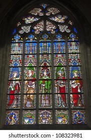 BRUSSELS - JUNE 22: Windowpane from gothic church Notre Dame du Sablon on June 22, 2012 in Brussels.
