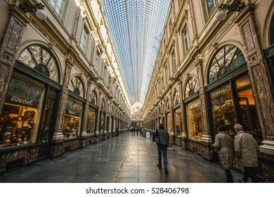 Brussels - March 17: The Galeries Royales Saint-Hubert in Brussels On March 17, 2016. It is a glazed shopping arcade in Brussels that preceded other famous 19th-century shopping arcades