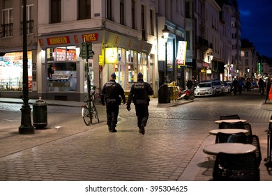 BRUSSELS - MARCH 23: Police patroling the city center on March 23, 2016 in Brussels, Belgium.