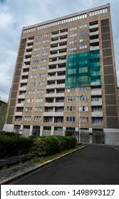 Brussels Marollen, Brussels Capital Region / Belgium - 09 07 2019: Socail apartments blocks, partly abandonned