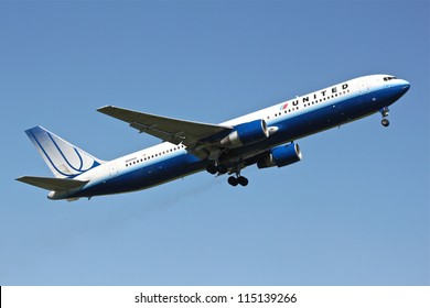 BRUSSELS - MAY 25: Boeing 777-222 of United Airlines approaching Brussels Airport in Brussels, BELGIUM on May 25, 2012. United Airlines is world's largest airline in terms of number of destinations.