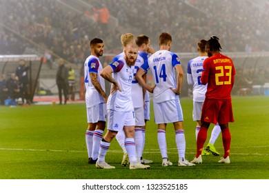 BRUSSELS - NOV 15, 2018: Aron Gunnarsson 17. Belgium - Iceland. UEFA Nations League.