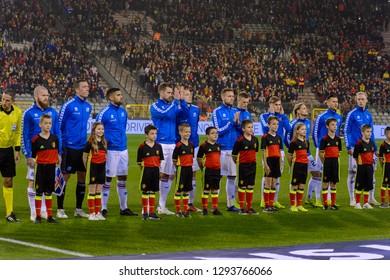 BRUSSELS - NOV 15, 2018: Iceland team sings the national anthem. Belgium - Iceland. UEFA Nations League. Schalke 04 stadium.