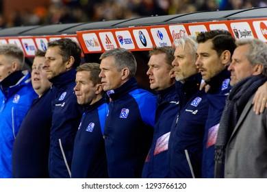 BRUSSELS - NOV 15, 2018: Iceland team sings the national anthem. Belgium - Iceland. UEFA Nations League.