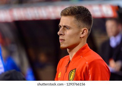 BRUSSELS - NOV 15, 2018: Thorgan Hazard 16. Belgium - Iceland. UEFA Nations League.