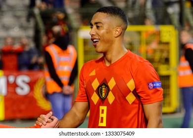 BRUSSELS - NOV 15, 2018: Youri Tielemans 8 close up portrait.  Belgium - Iceland. UEFA Nations League.